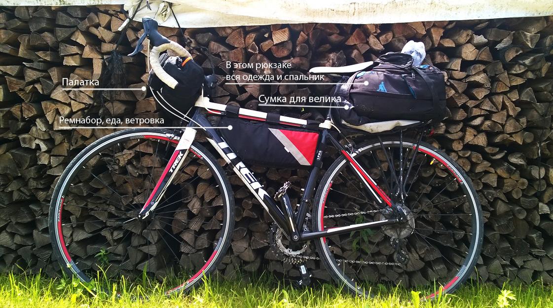 Размещаем снаряжение для похода на шоссейном велосипеде