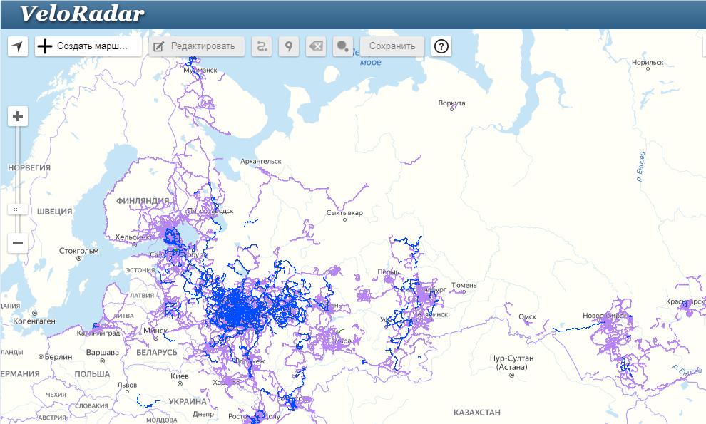 Сервис маршрутов по России для велопутешествий